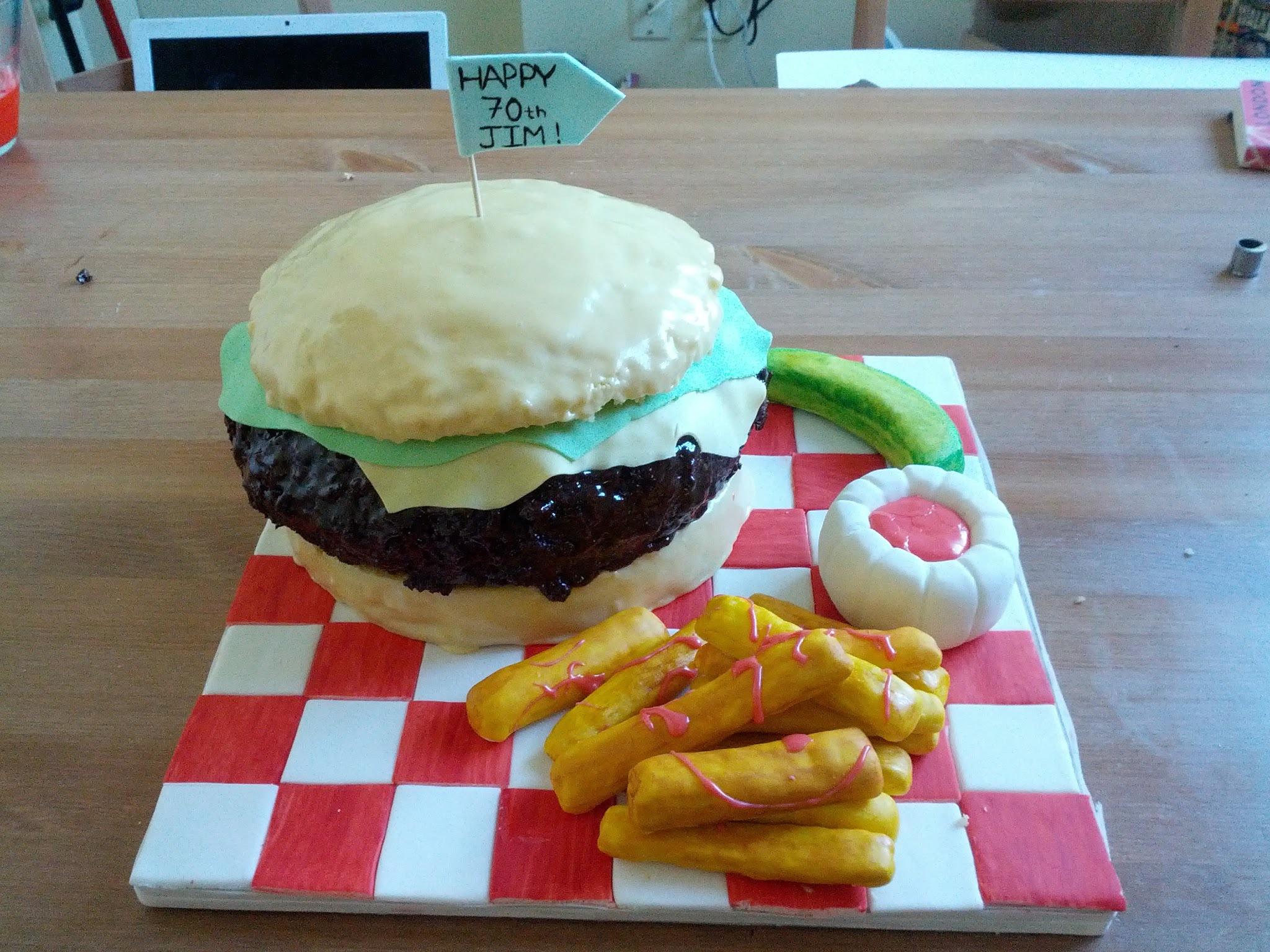 how to make a burger birthday cake