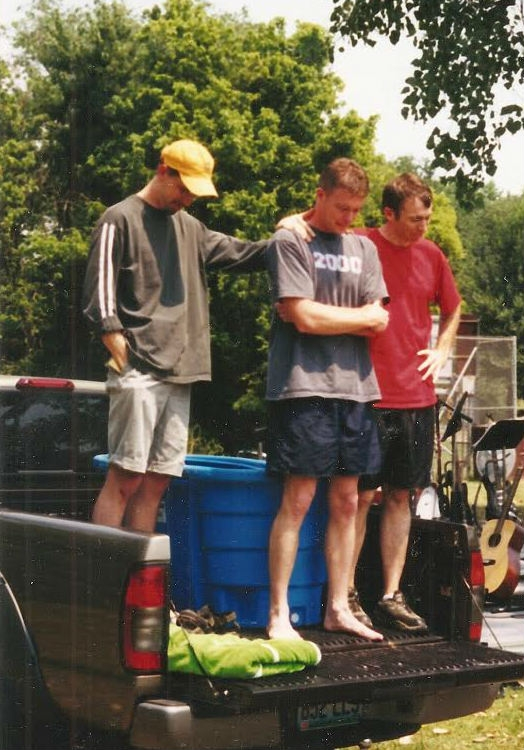 One of the first Rooftop baptisms - Eric Bergmann - was submerged in a tub on the back of a truck during an outdoor service,