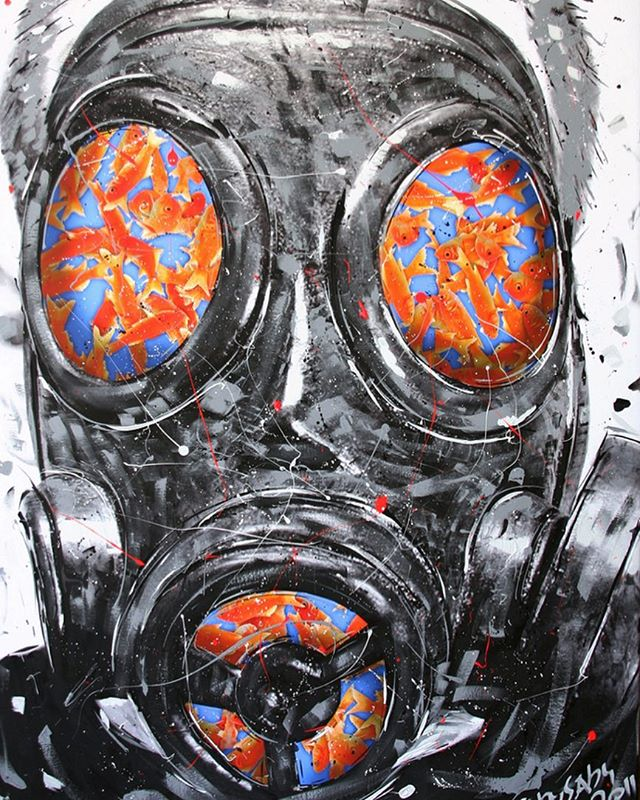 Original work by artist GabyGaby #gasmask #goldfish