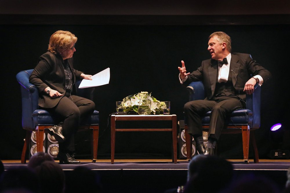 University Chancellor Sandi Toksvig and guest John McCarthy in conversation