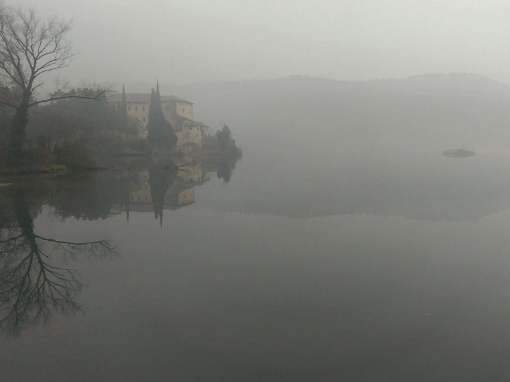 Feb 14, 2015: Castel Toblino in dawn. (Lago di Santa Massenza, Trentino)