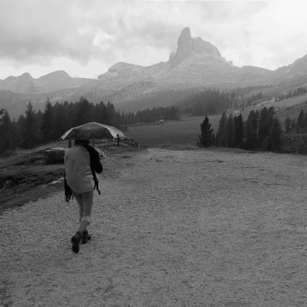 August 15, 2015, Croda da Lago: Into the rain.