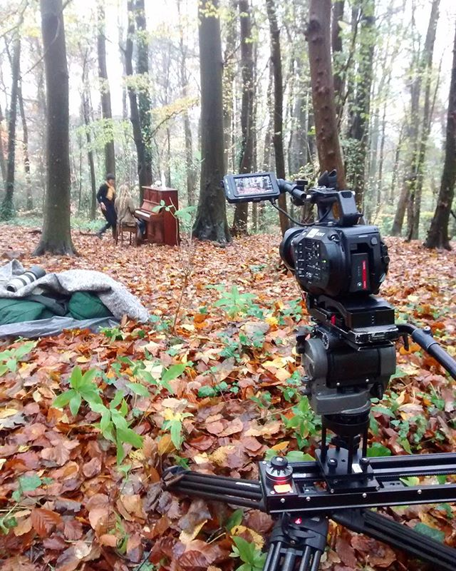 Piano in the woods!  #musicvideo #bristol #sonyfs7 #cineslider