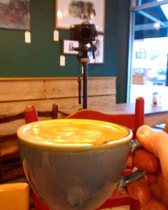 Well this is efficient. Shooting a timelapse of a busy coffee shop whilst simultaneously having a break and starring in my own shot ;)