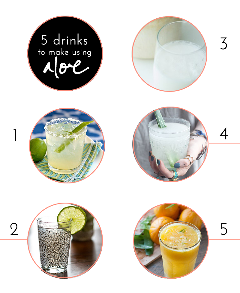 1 - Skinny Aloe Margarita, 2 - Chia Fresca, 3 - Awesome Aloe Vera Smoothie, 4 - Aloe Water. 5 - Detox Aloe Vera Orange Juice