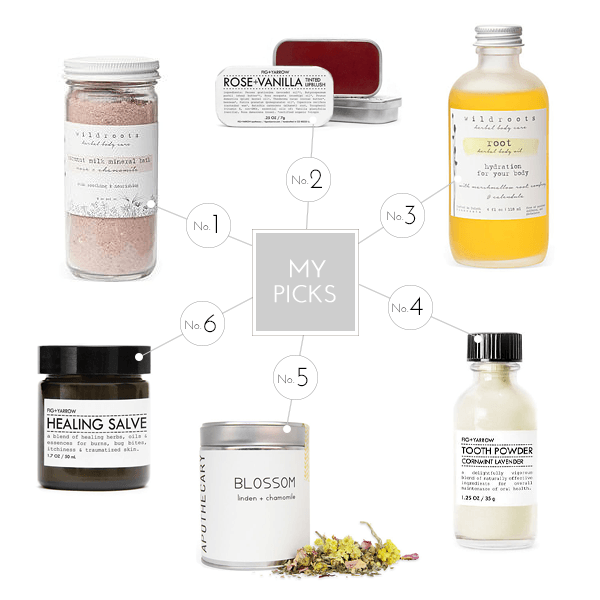 Wildroots - Coconut Milk Mineral Bath, FIG+YARROW - Rose & Vanilla Lip Blush, Wildroots - Root Body Oil, FIG+YARROW - Tooth Powder, Portland Apothecary - Blossom Tea, FIG+YARROW - Healing Salve