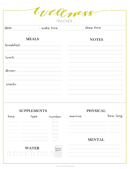 Free Printable Wellness Tracker