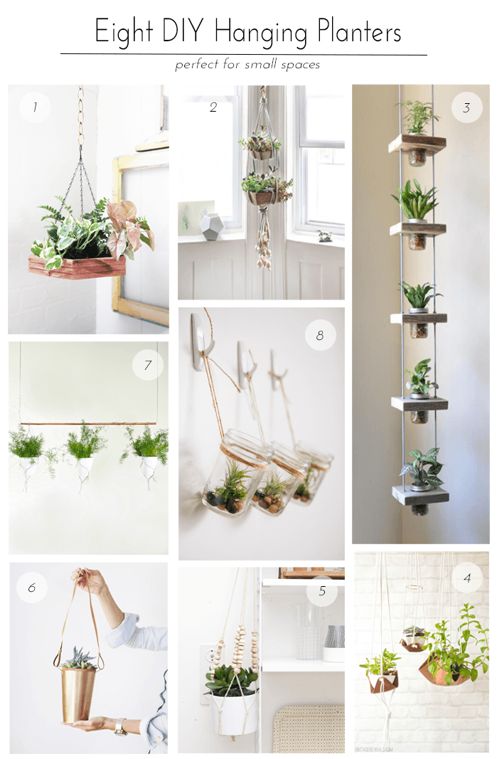 1 - DIY Hexagon Hanging Planter from Justina Blakeney, 2 - Hanging Succulent Garden from Design*Sponge, 3 - Herb Jar Garden from Do It and How, 4 - Slouchy Leather Sling Planter from Vintage Revivals, 5 - Beaded Hanging Planter from Weekday Carnival, 6 - Hanging Copper Planter from Style Me Pretty, 7 - Contemporary Indoor Garden from Eclectic Trends, 8 - Hanging Mason Jar Planters from Oh So Very Pretty
