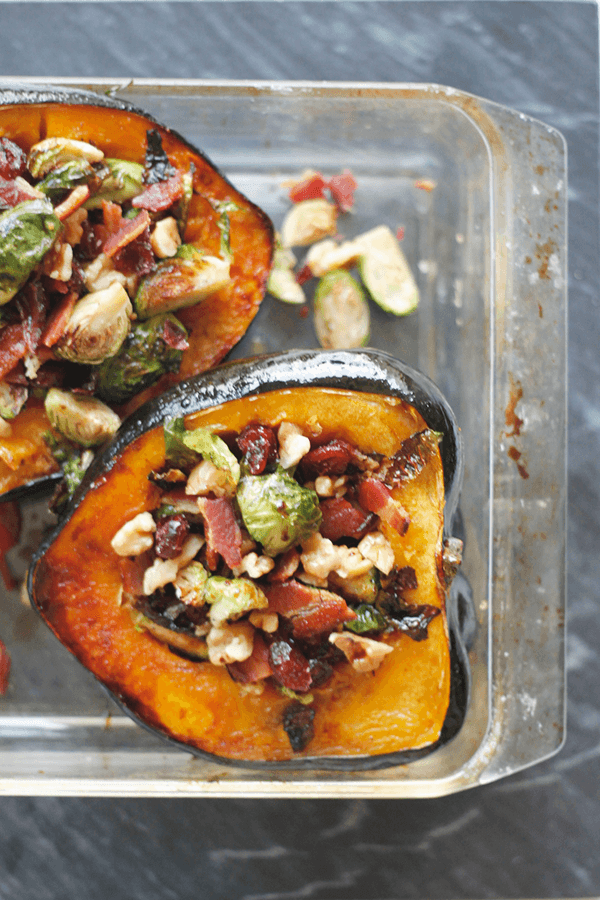 Stuffed Acorn Squash with Bacon and Brussels Sprouts