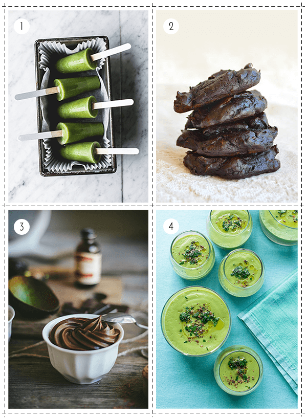 1 - Green Smoothie Avocado Pops, 2 - Healthy Avocado Chocolate Cookies, 3 - Chocolate Avocado Mousse, 4 - Creamy Cauliflower Avocado Soup