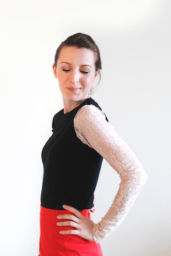 Makeover an old tee with this DIY Lace Sleeve Tee tutorial at Wellnesting. And the best part? It only costs $8!
