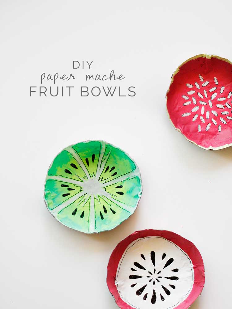 These paper mache fruit bowls are an easy DIY just in time for summer | Wellnesting