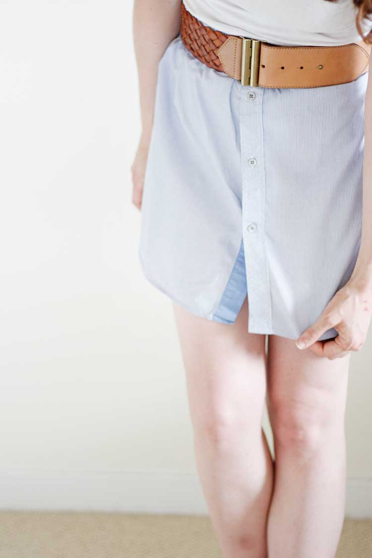 How to make a men's shirt into a skirt | Wellnesting