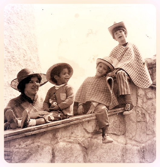 Author Judith McCarrick with her children in Colombia, 1973