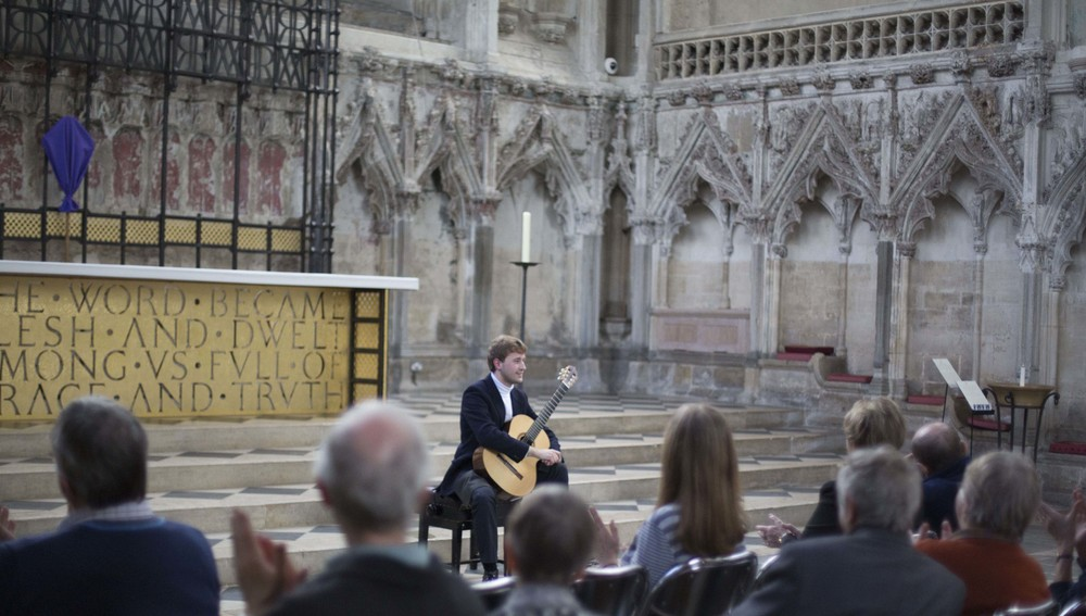The audience applauding Michael's performance at Ely Cathedral