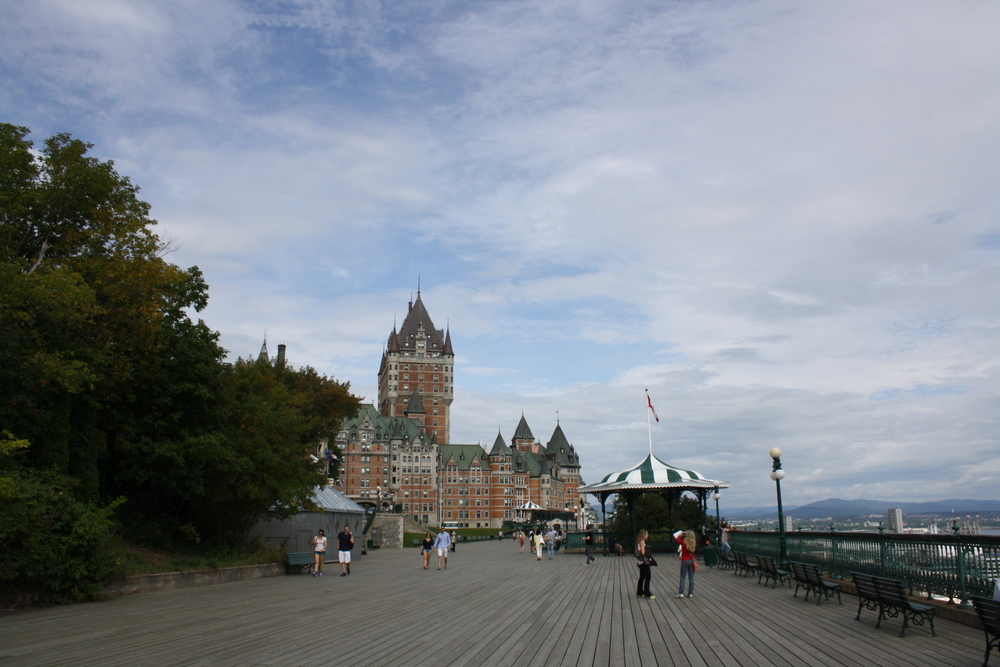 My view of the beautiful Terrasse Dufferin in Quebec City, Canada
