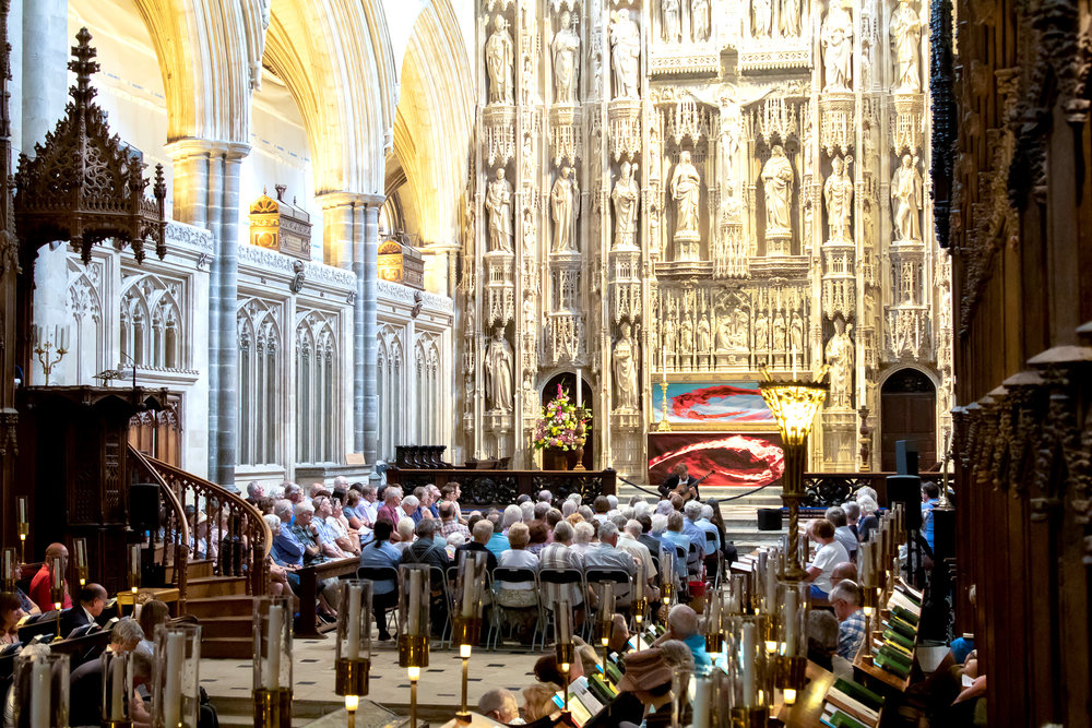 Performing at Winchester Cathedral, August 2018 (Photo by Tervor Morecraft)