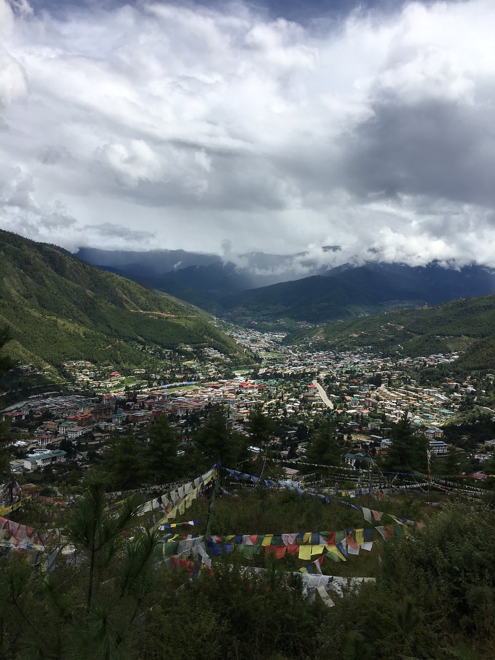 Today, September 6, 2016, I made it (walking!) up to Sangaygang, the look-out point overlooking Thimphu Valley. I've done the walk hundreds of times over the years. Today was special, and I took this glorious photo of Thimphu Valley canopied by late monsoon clouds. To me it's the most beautiful sight in the world. I've been dreaming of this day, obsessing, focusing my whole existence on it at times, visualizing myself standing on this very spot, looking out onto this place I love so much. I fractured my kneecap last February in an accident in the U.S. and have had a long and painful recovery. But it wasn't all bad. I was so lucky to have angels and Buddhas around me the whole time: a great surgeon, Dr. Chris Anderson, and an army of techs, friends, nurses, and physical therapists who got me to this place. In no particular order: my sister, Elizabeth Starnes, Monica, Gary, Beautiful Joelle, Bev Graves, Indiana, Jamie Richards, Dennis, Morgan Clouse, Eva, Colleen and Harry Whitver, Marilyn Murphy, Barry Buxkamper, Mary Talley, Vin, Rob and Carol Stein, Suzanne Cassel, Cody, Nichelle, Belinda, Lynee Durham, Jeff Danley, Vicki Wilburn, Lonnie Frey,  Bob Durham, ANGIE!, Anne Whitver and so many others. Thank you! With your help I can climb mountains. Sending love from Bhutan.
