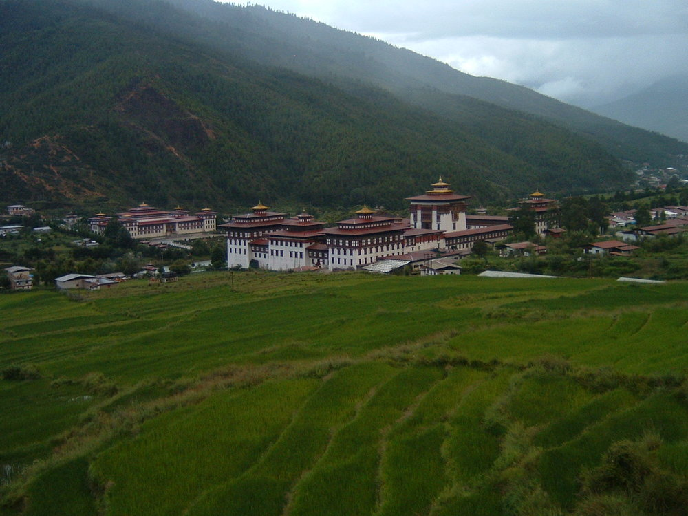 Tashichhodzong in Thimphu in summer. The fields are terraced rice paddies which you see all over Bhutan.