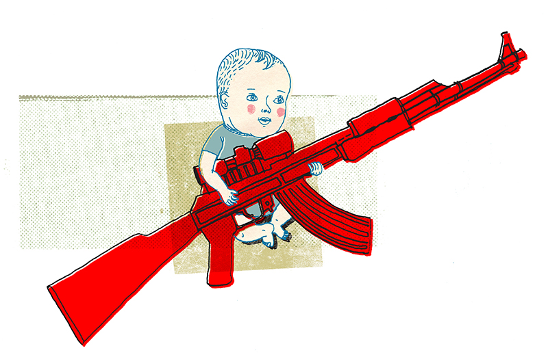 Les mauvais côtés des fusils jouets. /  The bad side of toy guns.   Client : Globe and Mail