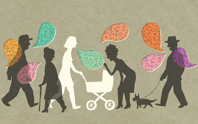 Une mère raconte comment tous les étrangers se mettent à lui parler dès qu'elle met le nez dehors avec son bébé. /  A new mom shares the fact that strangers talk to her when she goes out with the baby.    Client : Globe and Mail