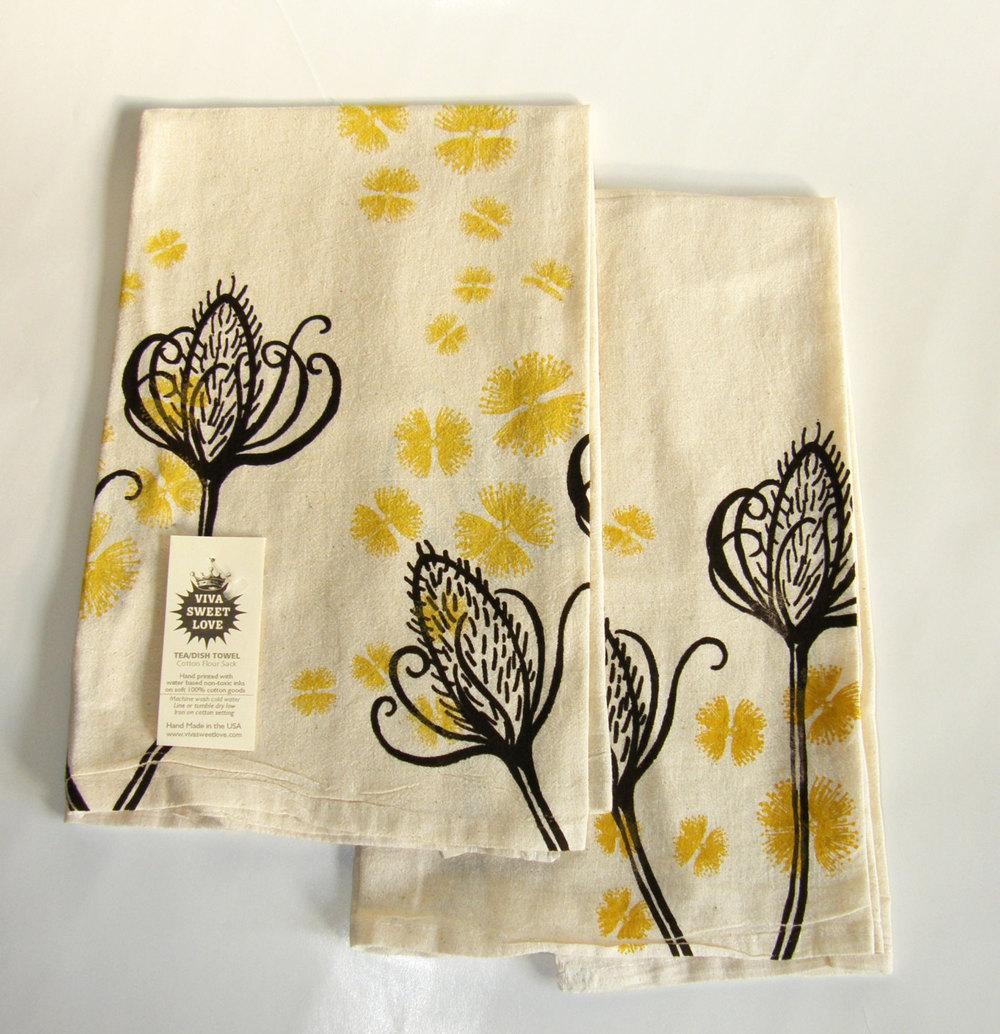 Botanical Tea Towel Set, Natural Cotton Flour Sack,Dish Towel, Hostess  Gift, Teachers Gift, Ready To Ship, Dark Brown And Mustard Yellow