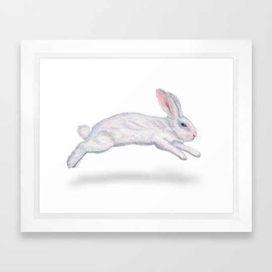 """Fluffy White Bunny"" framed art print"