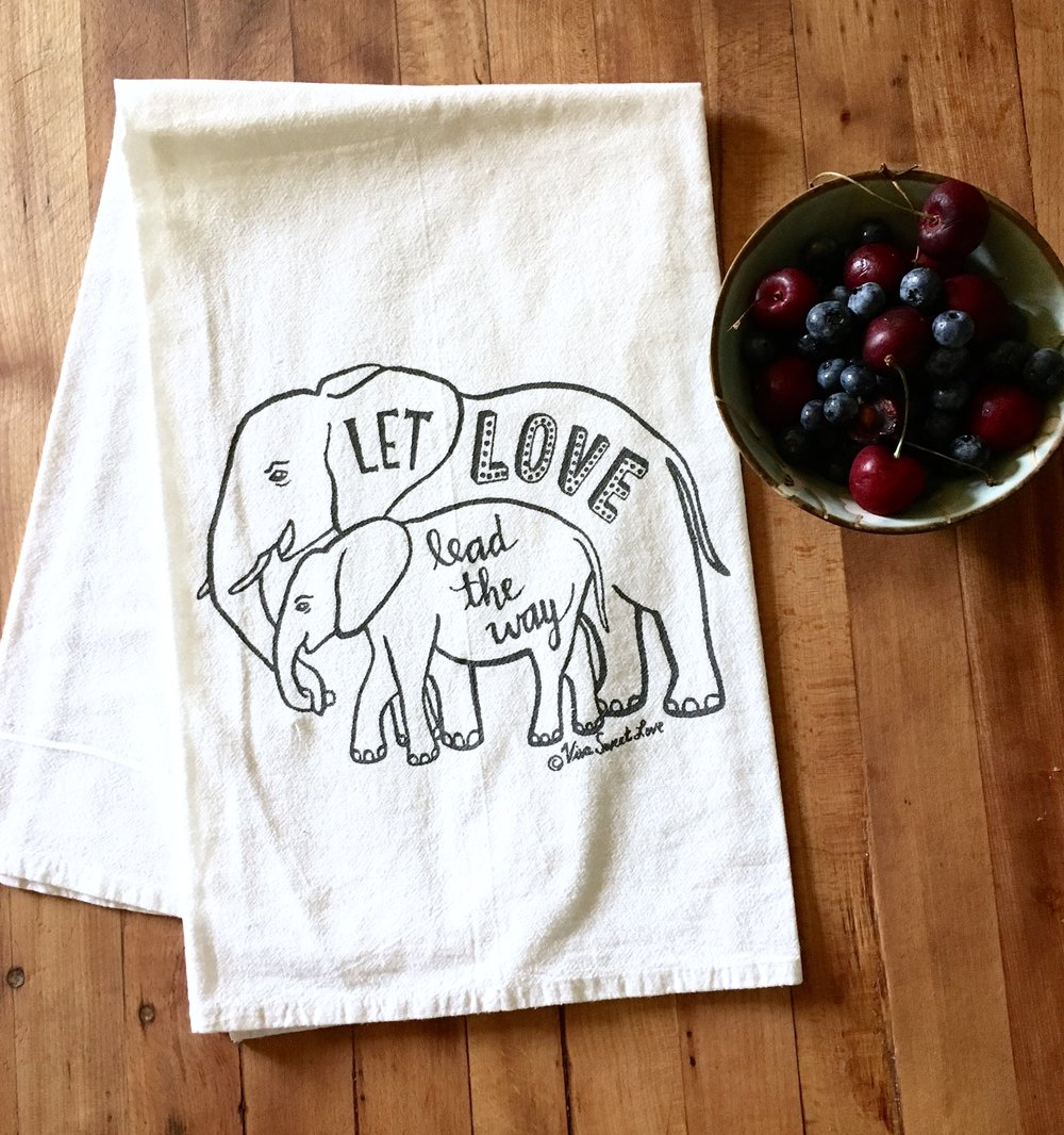 Elephant Love Dish Towel