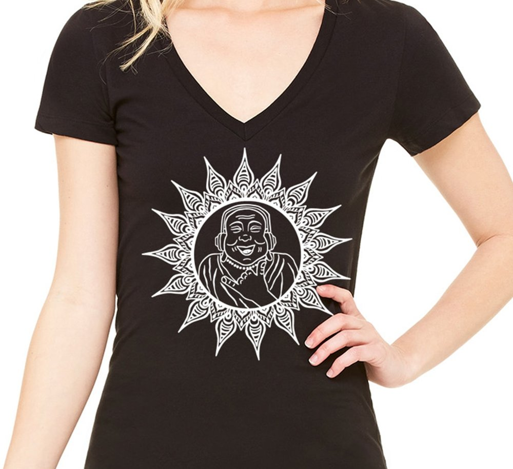 Happy Buddha Womens Vneck Tshirt