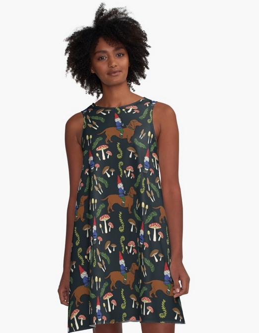 Gnome & Dachshund Mushroom Forest Women's  A-line Dress  available at Redbubble