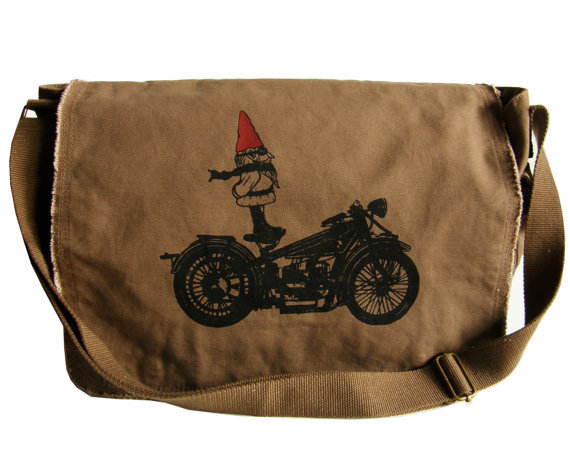 biker gnome messenger bag