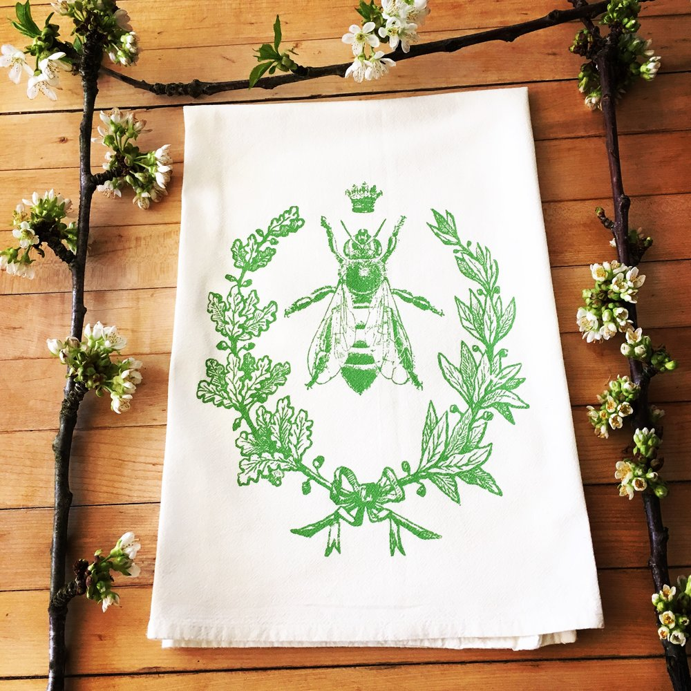 Queen Bee Flour Sack Towel/Leaf Green