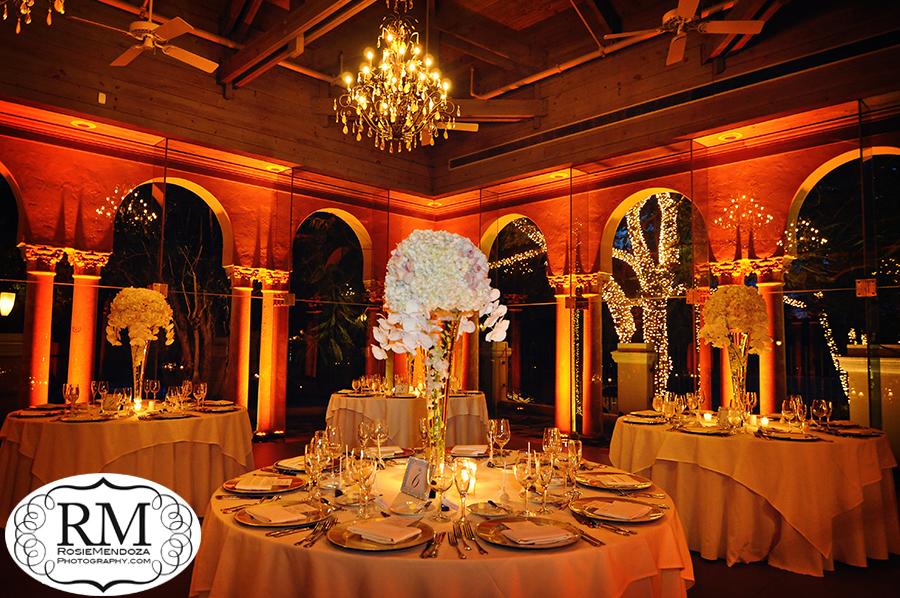 Beautiful reception setup and wedding centerpieces