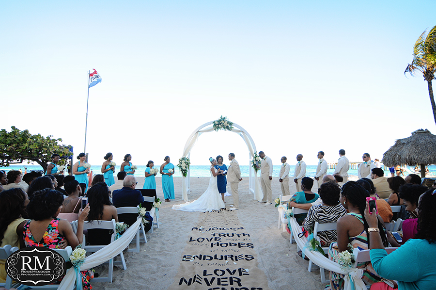Panoramic of beach wedding ceremony