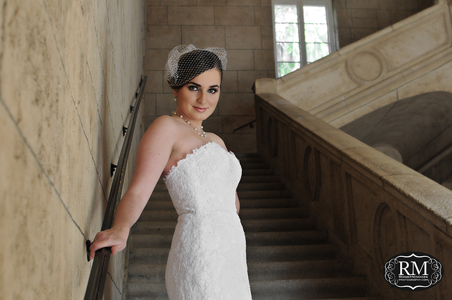 Bride's portraits at the gorgeous Douglas Entrance stairs