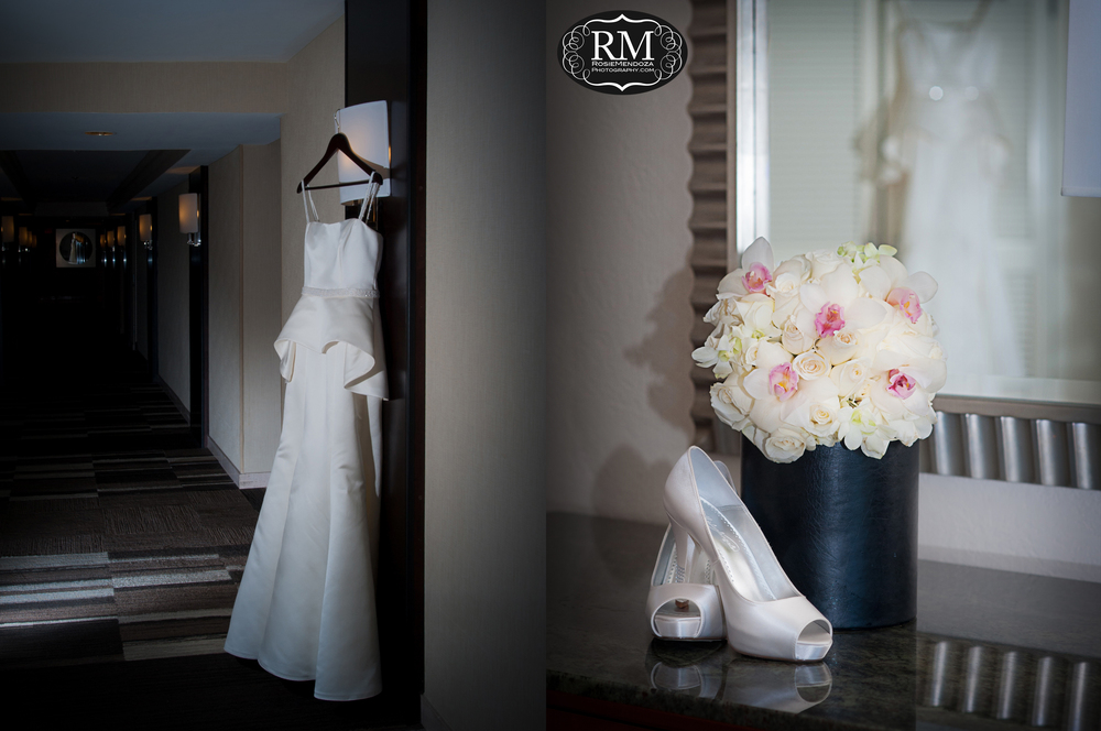 Beautiful bridal gown, shoes and bouquet.