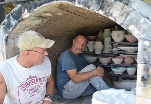Loading the kiln.