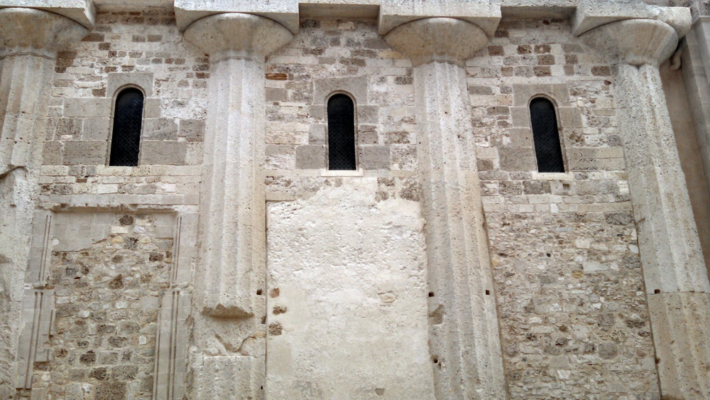 Temple of Athena, now Siracusa's Main Cathedral, Side Exterior Showing Reuse of Greek Columns (Siracusa, Italy)