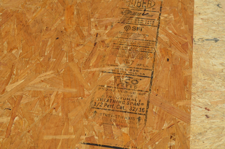 ZIP System panel marked with the Crystal Hill, Virgina mill's identifying information
