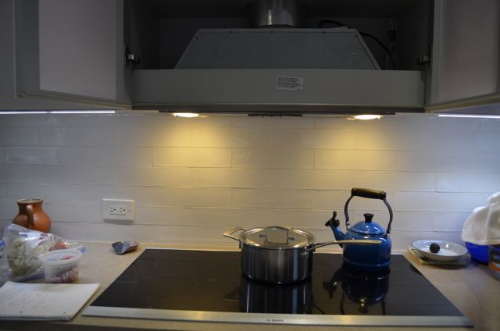 Bosch induction cooktop with Best by Broan recirculating range hood above