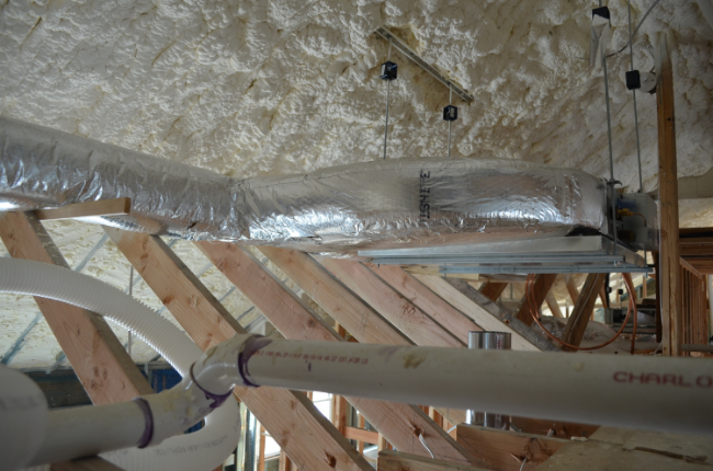 Air handler with insulated ducts.
