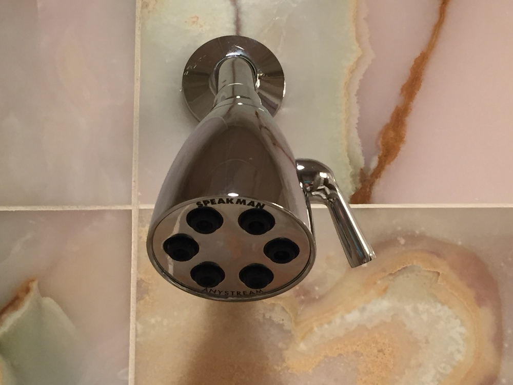 Remove an old shower head by twisting it counterclockwise