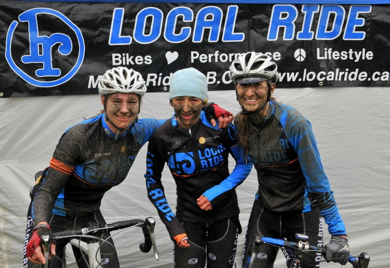 (l-r): Local Ride Racing's Kelsey MacDonald, Maggie Coles-Lyster, and Meghan Grant don't mind a bit of dirt. Photo: Paul Craig