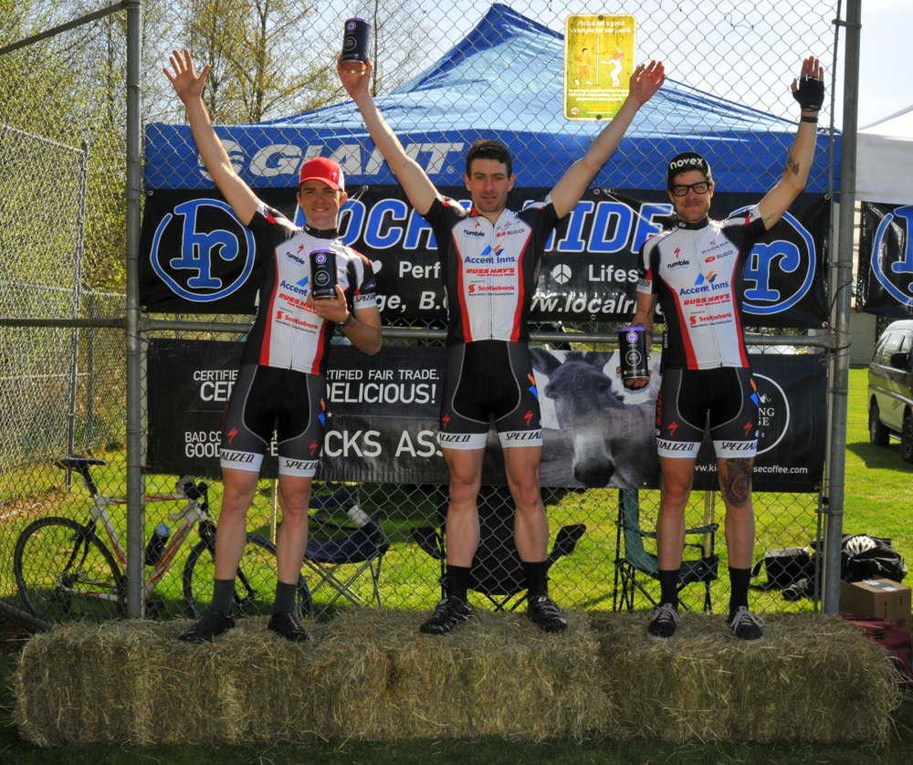 Cat 1/2 Men's Podium (l-r): Curtis Dearden, Greg Christian, Dylan Davies. Photo: Paul Craig
