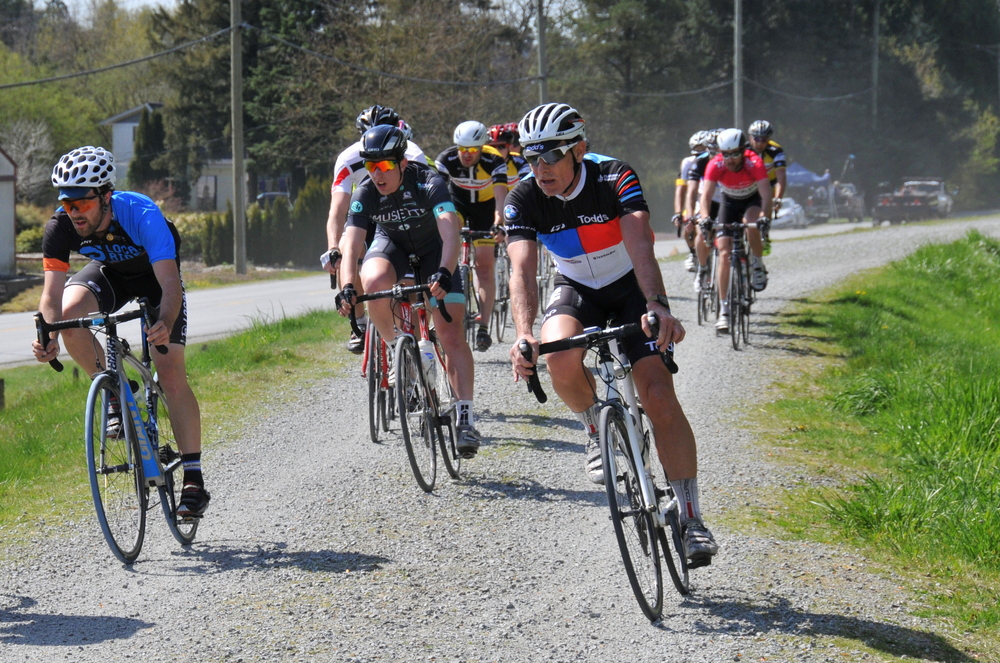 Local Ride Racing's Brett Wakefield (far left) finished third in the Cat 3 Men's race. Photo: Susan Weston