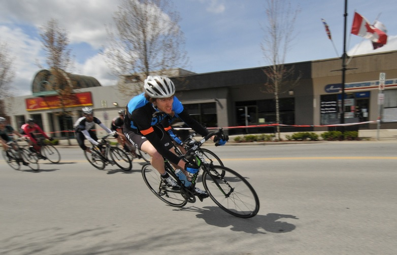 Local Ride Racing's Steve Devantier of Pitt Meadows contests the Town Core Crit. Photo: Paul Craig