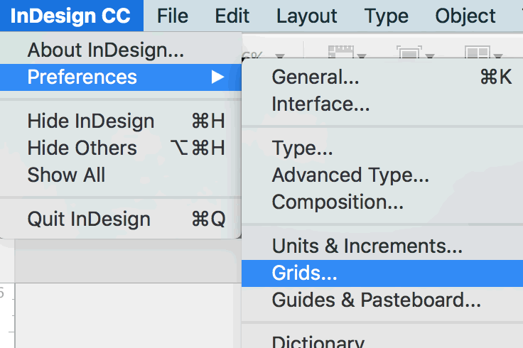 Under the  InDesign CC  menu, choose  Preference  ›  Grids...