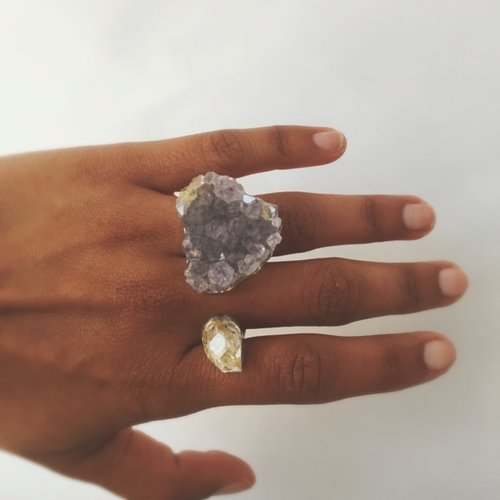 Amethyst and herkimer diamond ring mour amethyst and herkimer diamond ring junglespirit Images