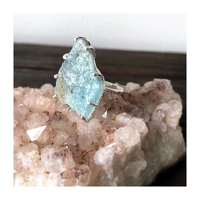 Amazonite was thought to have been worn by and used in the shields of Amazonians- the all female tribe of woman warriors. Once thought to be a myth, findings have proven these rad ladies did indeed exist. Carry on the tradition with your own reminder of how strong we are as #womanwarrior in our everyday lives. 💪🏽 *Raw Amazonite Shield Ring* . . . . . . #fightlikeagirl #innerstrength #dailyreminder #raw #amazonite #sterlingsilver #ring #jewelry #oneofakind #healingcrystals #jewelryaddict #californiamade #longbeachartist #bohemian #unique #powerring #amazonianwarrior #statementjewelry #wearewomanhearusroar #womanempowerment #lightandlove #truth #fearless