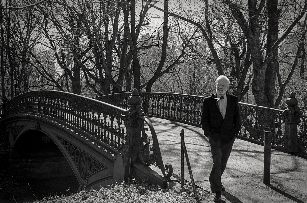 man on bridge, Central Park, NY 1997.